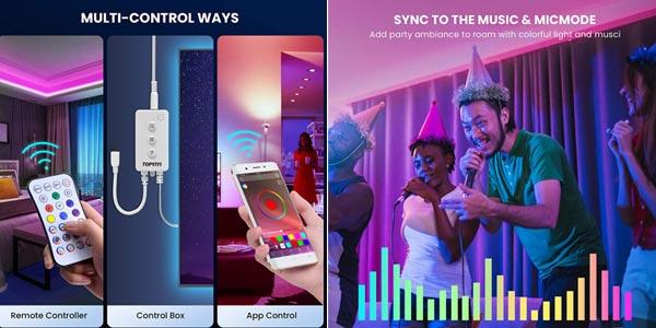Tira LED RGB 5050 Topyiyi de 6 m oferta en Amazon