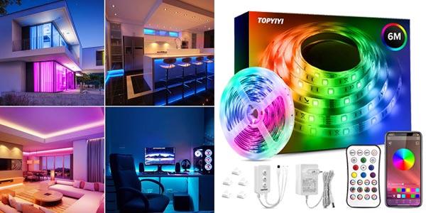 Tira LED RGB 5050 Topyiyi de 6 m barata en Amazon