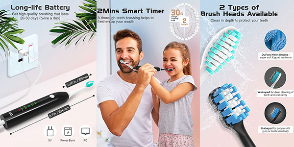 Cepillo de dientes eléctrico WEEya con 4 cabezales barato