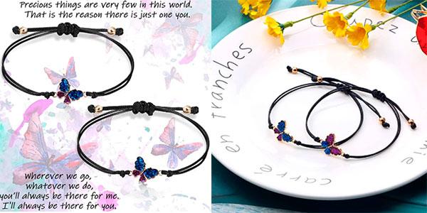 Chollo Pack de 2 pulseras de promesa con forma de mariposa
