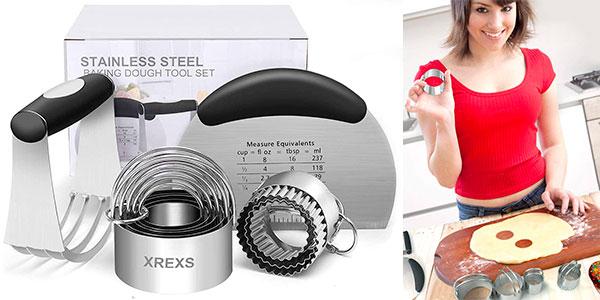 Chollo Kit XREXS de 10 piezas para hornear con raspador de masa y cortadores