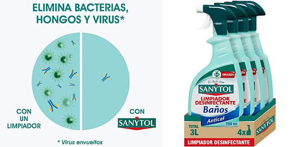 Chollo Pack x3 Limpiador Sanytol Desinfectante Baños Antical de 750 ml