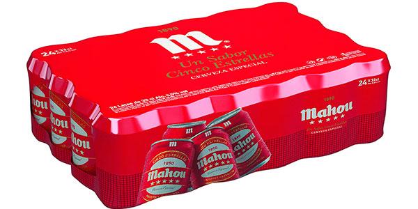 Chollo Pack de 48 latas de cerveza Mahou 5 Estrellas Lager de 330 ml