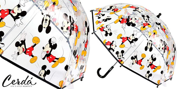 Chollo Paraguas de campana transparente de Mickey