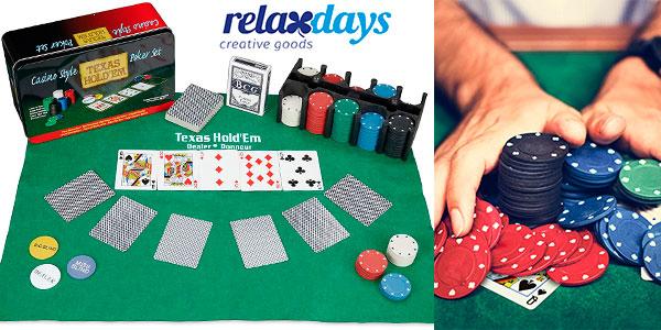 Chollo Set de póker Relaxdays con tapete, 2 barajas y 200 fichas