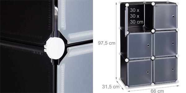 Estantería modular Relaxdays con 6 cubos de 30 x 30 cm chollo en Amazon