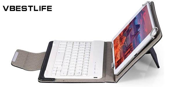 """Funda universal para tablets de 10"""" con teclado inalámbrico Bluetooth Vbestlife"""