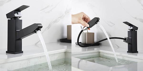 Grifo de lavabo extraíble Auralum negro mate