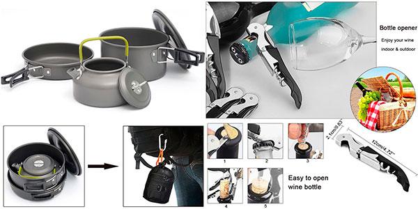 Kit AUTOPkio de 15 utensilios de cocina para camping barato