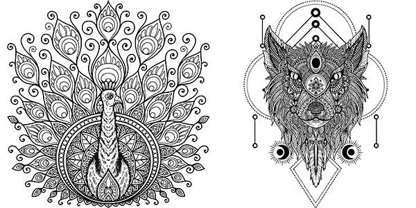 Libro de colorear mandalas de animales para adultos barato