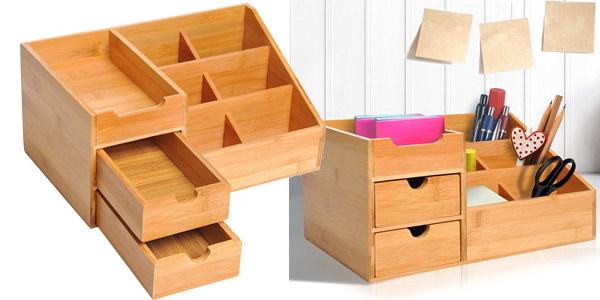 Organizador de escritorio Homcom de madera de bambú barato en Amazon