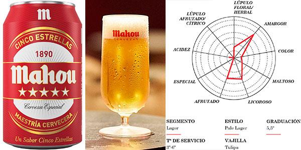 Pack de 48 latas de cerveza Mahou 5 Estrellas Lager de 330 ml barato