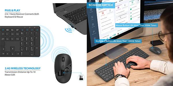 Set de teclado y ratón inalámbricos TedGem barato