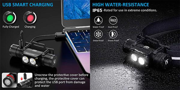 Set de 2 linternas frontales Morpilot USB de 1.200 lm barato
