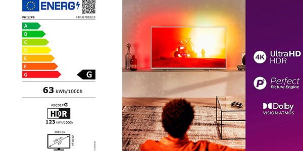 "Smart TV Philips 43PUS7855/12 Ambilight UHD 4K de 43"" barato"