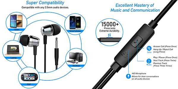 Auriculares TWS in-ear Blukar con cable y micro baratos