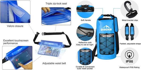 Bolsas estancas Dinoka de 10L/20L/30L + bolsa teléfono impermeable chollo en Amazon