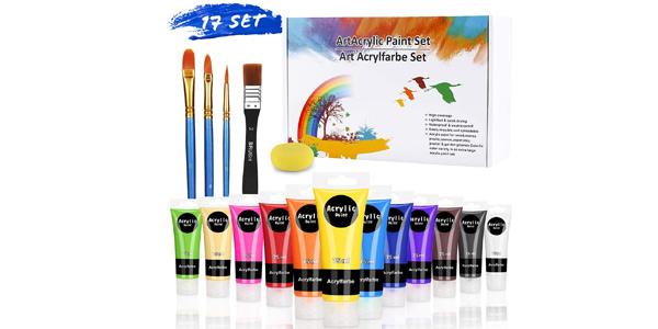 Pack x12 Pinturas Acrílicas Prima Caja de 75 ml con pinceles y esponja barato en Amazon