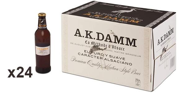 Caja x24 Botellas de cerveza A.K. Damm Alsaciana de 33 cl barata en Amazon