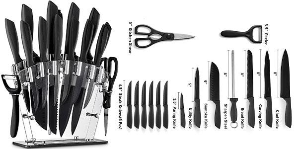 Juego de cuchillos de cocina de 16 piezas con soporte en oferta