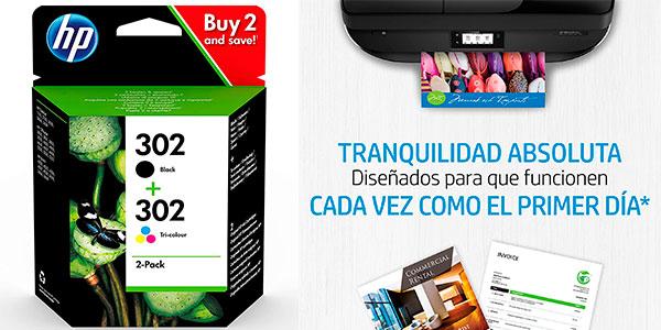 Chollo Pack x2 Cartuchos de tinta HP 302 negra y tricolor