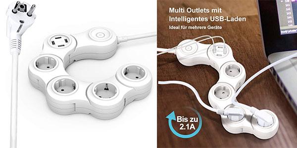 Chollo Regleta rotativa Vastfafa de 4 enchufes y 4 USB