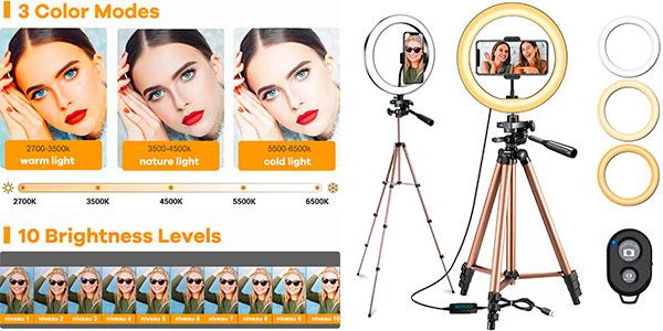 Chollo Trípode ajustable Mochuan con aro de luz y control remoto para selfies