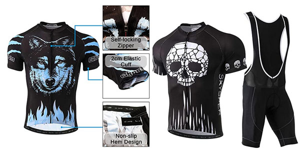 Conjunto Maillot de ciclismo Skysper con jersey + pantalones cortos culote barato en Amazon