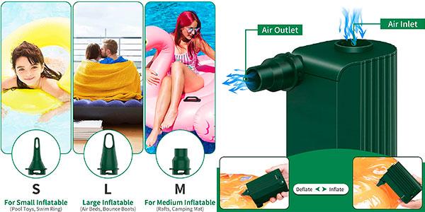 Inflador eléctrico inalámbrico Morpilot Air Pump con 3 boquillas barato
