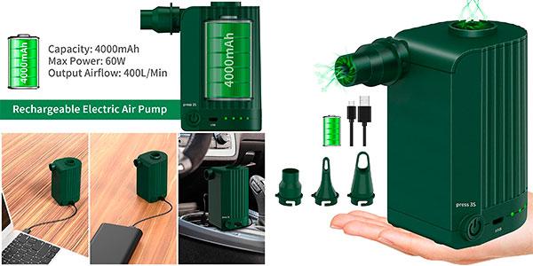 Chollo Inflador eléctrico inalámbrico Morpilot Air Pump con 3 boquillas