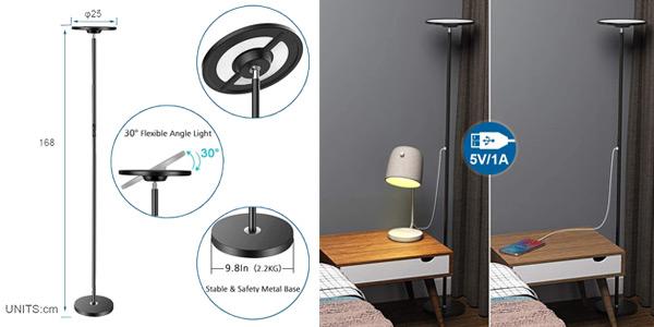 Lámpara de pie LED Anten uplight regulable Smart WIFI RGB oferta en Amazon