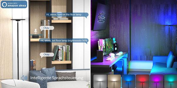 Lámpara de pie LED Anten uplight regulable Smart WIFI RGB chollo en Amazon