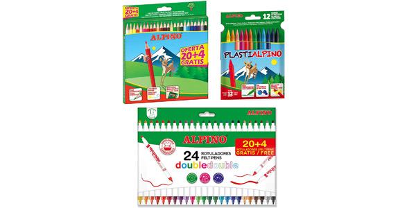 Lote material escolar Alpino: 24 lápices de colores + 24 rotuladores Double Double + 12 ceras Plastialpino barato en Amazon