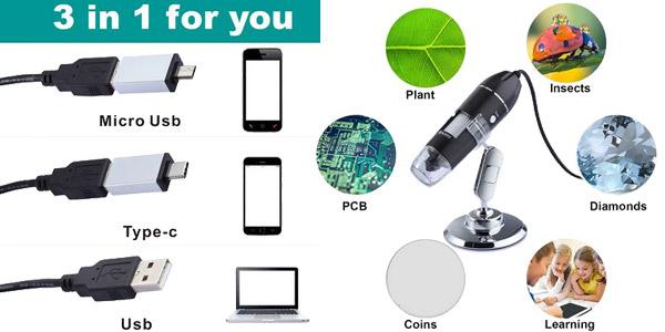 Microscopio Digital ajustable para teléfono de 1.600 mpx chollo en AliExpress