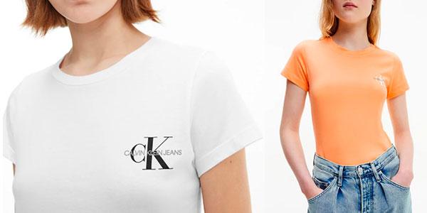 Pack de 2 camisetas Calvin Klein para mujer barato