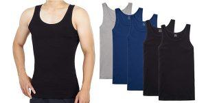 Pack x5 Camisetas interiores de tirantes Youchan para hombre baratas en Amazon
