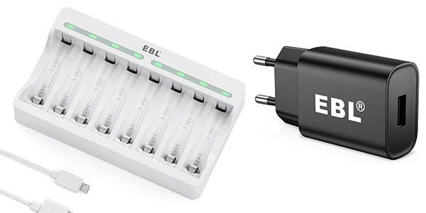 Pack Cargador de 8 pilas EBL + cargador USB pared