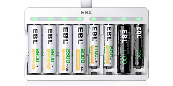 Pack Cargador de 8 pilas EBL + adaptador USB de pared