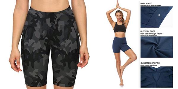 Pantalones cortos deportivos tipo leggins Move Beyond con 2 bolsillos para mujer chollo en Amazon
