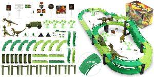 Pista de Carreras de juguete Wostoo con coche y dinosaurios barata en Amazon