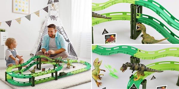 Pista de Carreras de juguete Wostoo con coche y dinosaurios chollo en Amazon