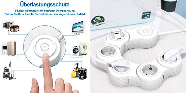 Regleta rotativa Vastfafa de 4 enchufes y 4 USB barata