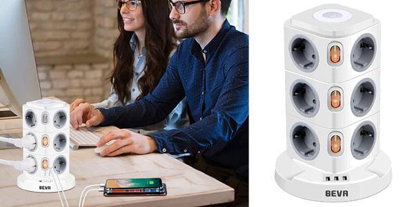 Regleta vertical 15 en 1 Beva con 12 enchufes y 3 USB, con 3 interruptores, luz nocturna y protector de sobrecarga barata en Amazon