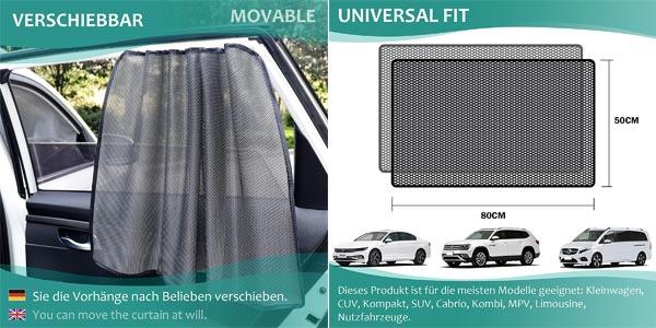 Pack x2 Parasoles magnéticos con protección UV para ventanillas laterales chollo en Amazon