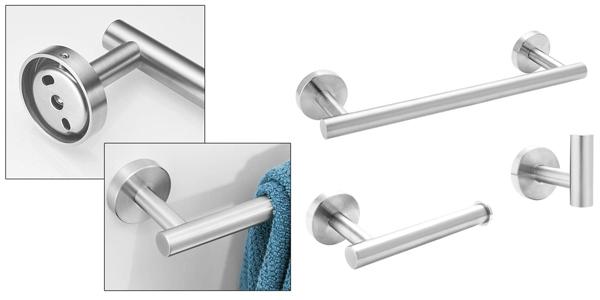 Set x3 accesorios colgadores de baño con toallero Exleco barato en Amazon