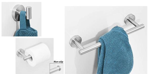 Set x3 accesorios colgadores de baño con toallero Exleco chollo en Amazon