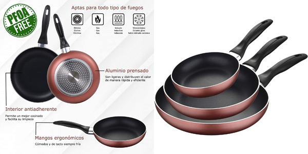 Set x3 sartenes Renberg Q3259 de aluminio prensado 16, 20 y 24 cm aptas inducción baratas en Amazon