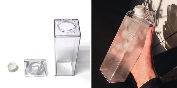 Set Botella de plástico sin BPAs con forma de tetrabrik + pajita acero inxo + 2 cepillos chollo en AliExpress