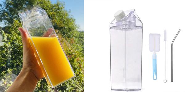 Set Botella de plástico sin BPAs con forma de tetrabrik + pajita acero inxo + 2 cepillos barato en AliExpress