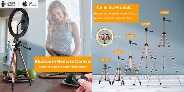 Trípode ajustable Mochuan con aro de luz y control remoto para selfies barato
